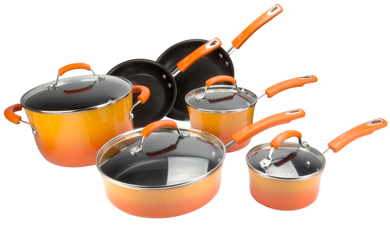 Rachael Ray 10-Piece Kitchen NonStick Hard Enamel Cookware Set - Orange