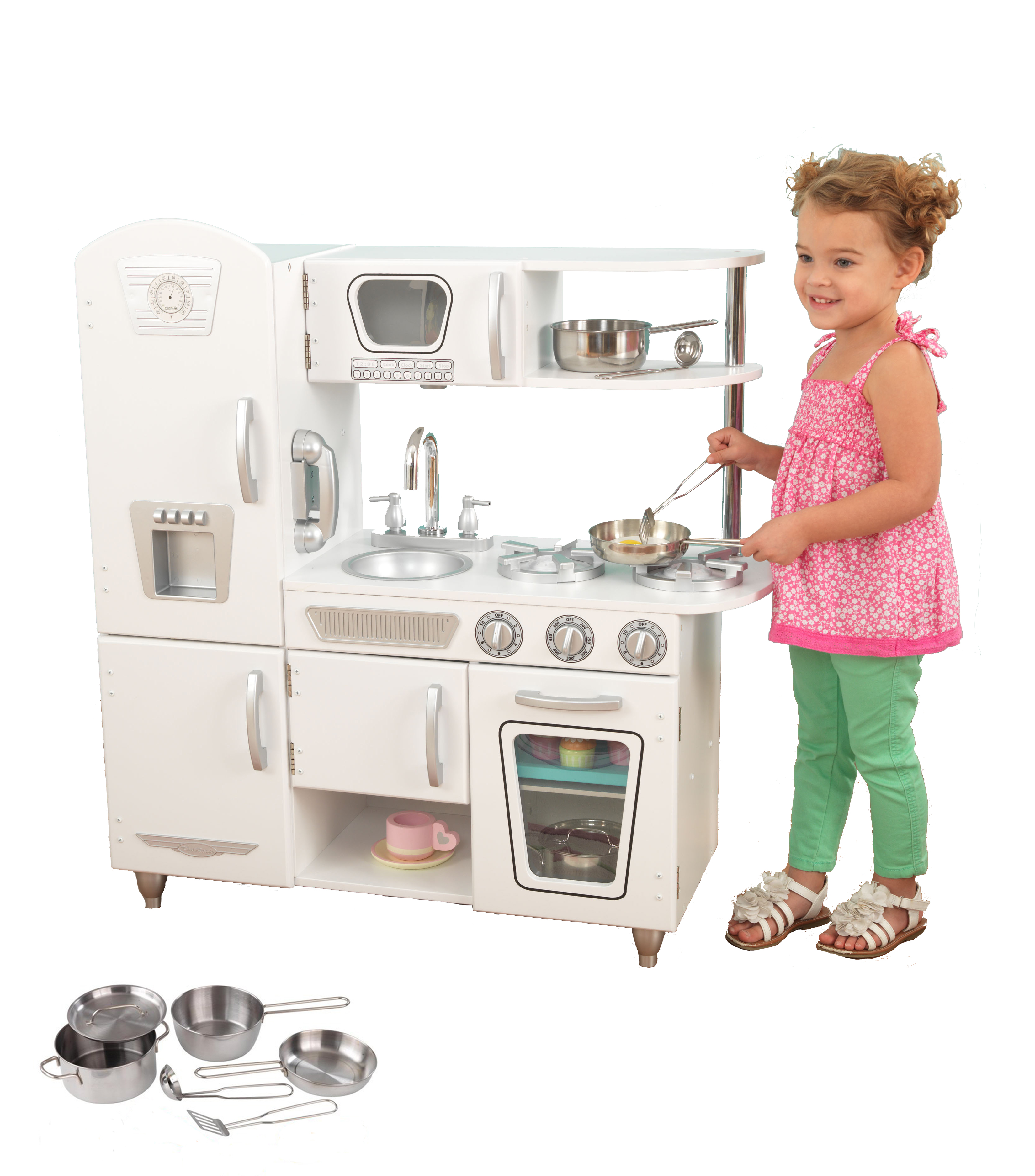 KidKraft White Vintage Kitchen with Bonus Steel Pots & Pans Set