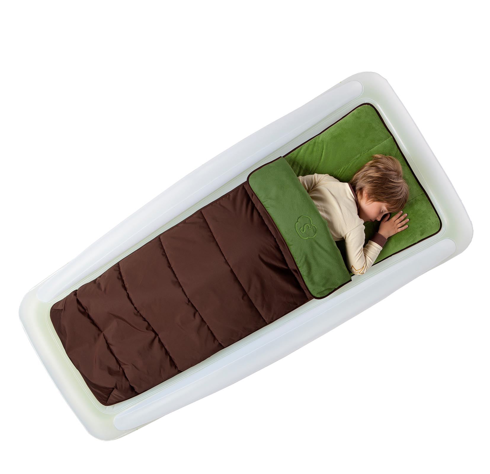 Shrunks Tuckaire Kids Outdoor Air Bed w/ Rails & Sleeping Bag