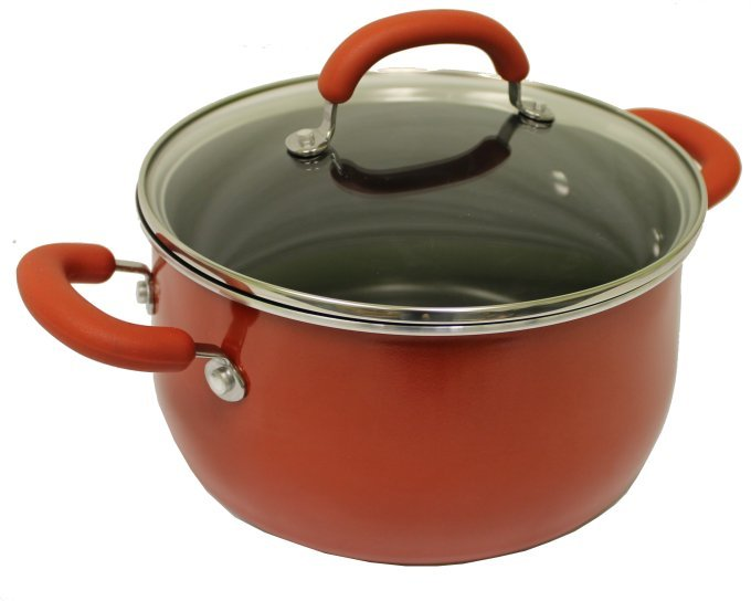 10505-RED�Rachael Ray 10-Piece Porcelain Enamel Cookware Set - Red