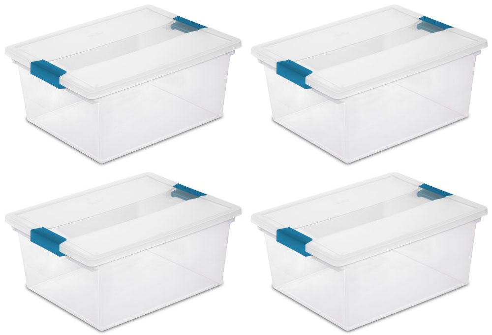 4) Sterilite 19658604 Deep File Clip Box Clear Storage Tote Container with Lid