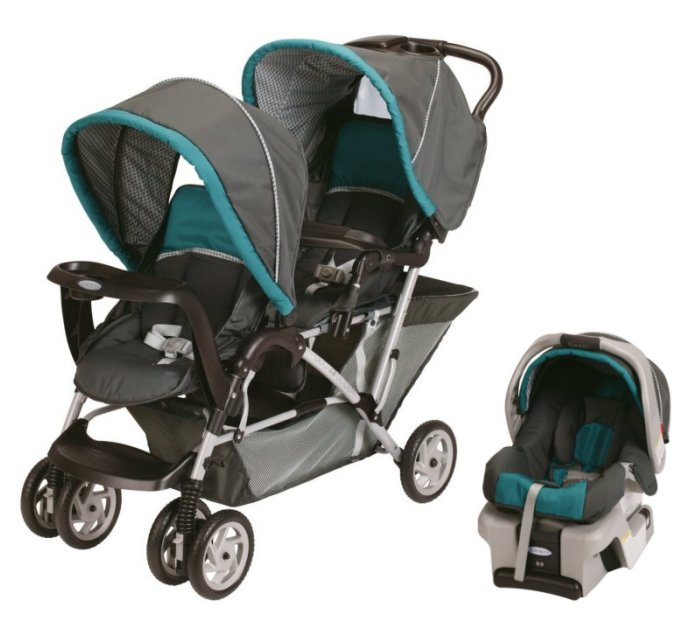 Graco DuoGlider Folding Double Baby Stroller w/ Car Seat Travel Set - Dragonfly