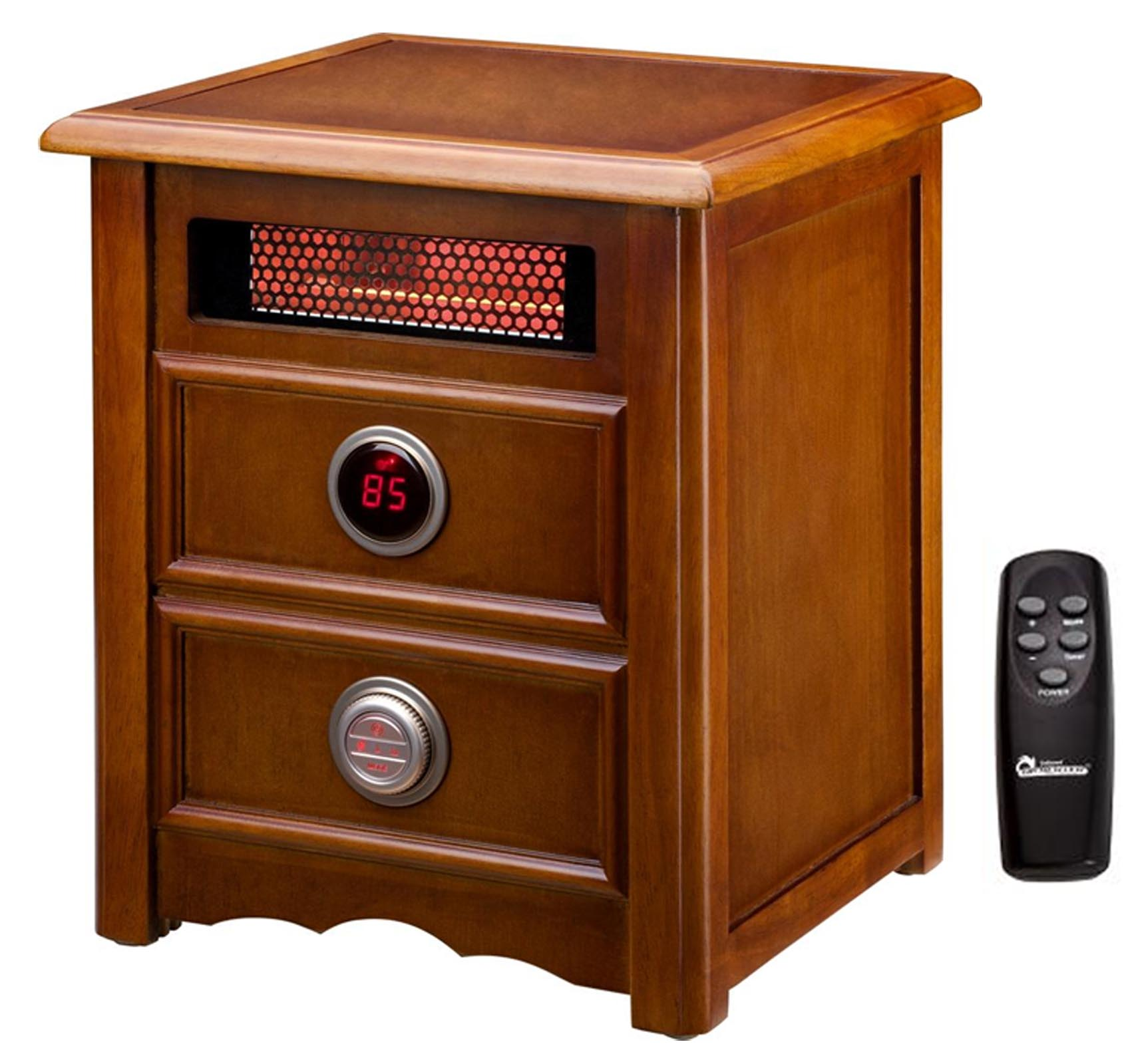 DR999 - Dr. Infrared Heater 1500W Electric Cherry Cabinet Nightstand Space Heater w/ Remote