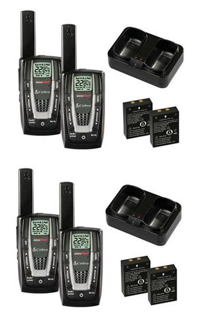 4 x CXR725 + 8 x GA-EBM2�CXR725 - (4) Pair COBRA 22 Channel FRS/GMRS Walkie Talkie 2-Way Radios + (8) Headsets