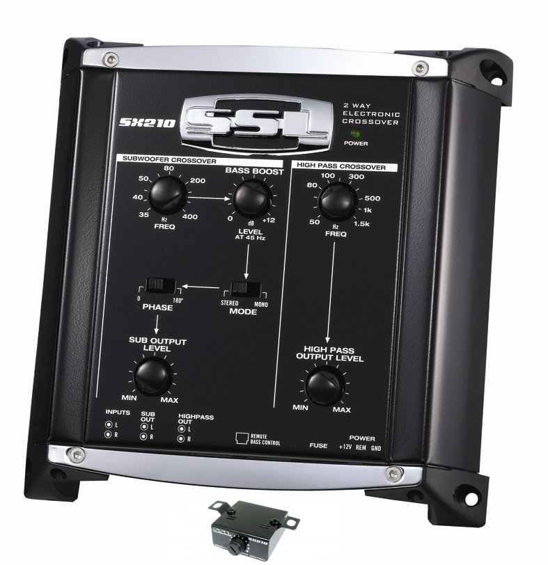 SX210 + KIT2�Soundstorm SX210 2 Way Electronic Crossover Xover with Remote with 8 Ga Amp Kit
