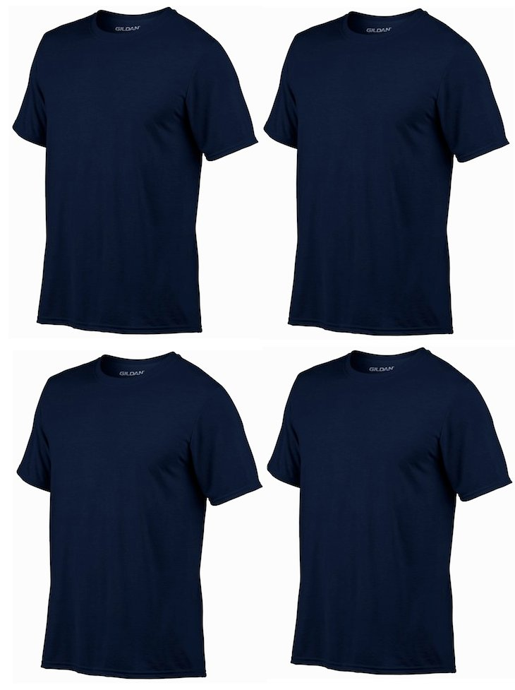 4) Gildan Classic Fit Mens 2XL Adult Performance Short Sleeve T-Shirt Navy