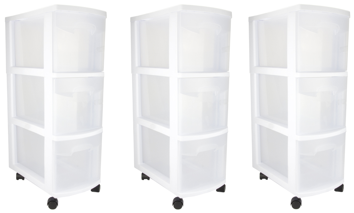 Sterilite 3-Drawer Narrow Storage Cart (3 Pack) | 27308003