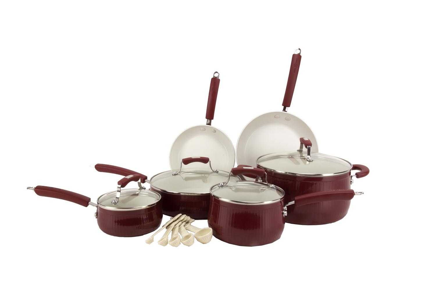 Paula Deen 15-Piece Kitchen Porcelain Cookware Set - Red