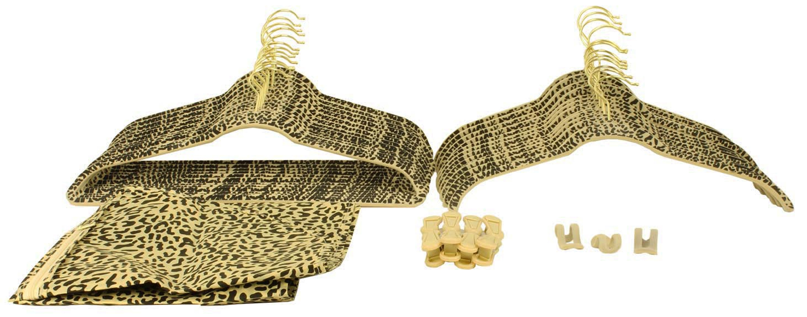 (60) Piece Brass Non-Slip Velvet Soft Hangers & Accessories Set