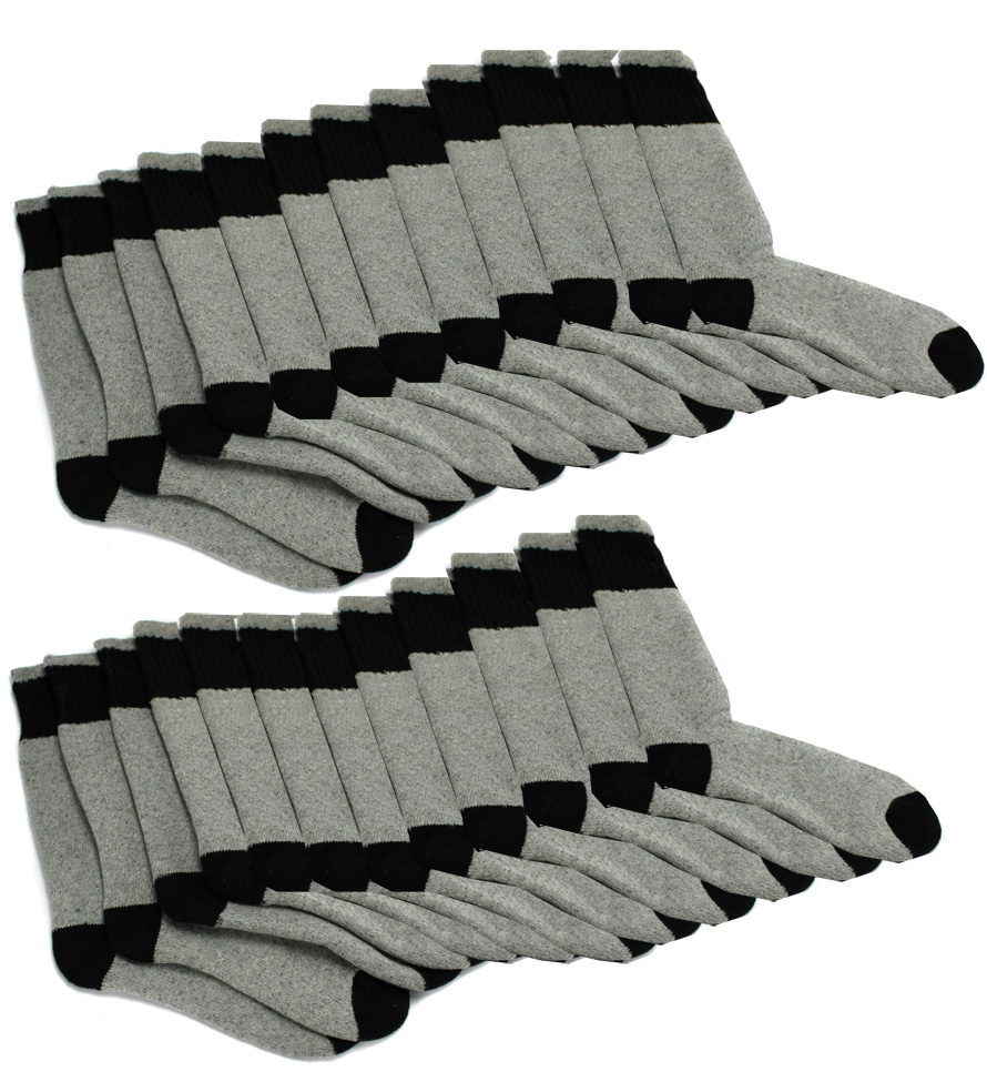 Mens Boot Socks Shoe 6-12 - BBlack/Gray (12 Pairs)
