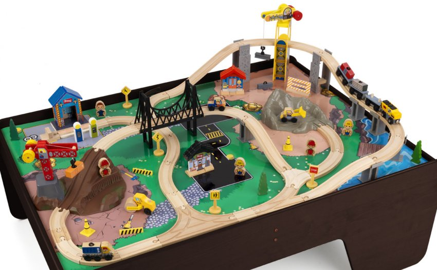 17962�KidKraft Hard Hat Highway Wood Train Table & Toy Set