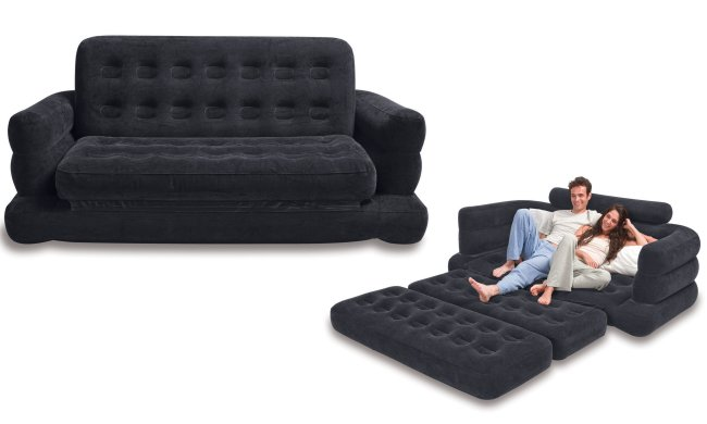 Intex Inflatable Pull-Out Sofa & Queen Bed Mattress Sleeper
