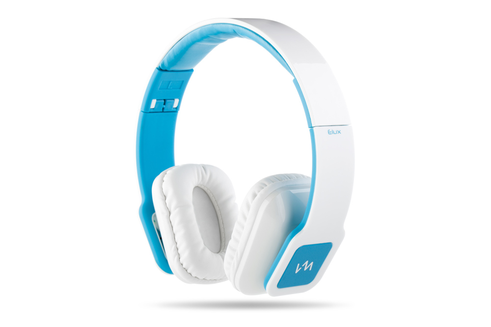 VM Audio Elux On-Ear Hyperbass Headphones (Piano White/Blue)