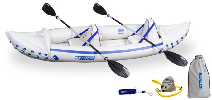 SE330K-PRO + QUIKSAIL�Sea Eagle 330 Pro Kayak - Professional 2 Person Inflatable Canoe + Quiksail 45� Boat Sail