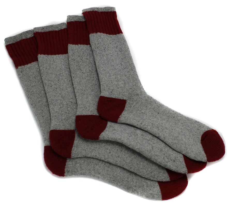 Mens Boot Socks Shoe 6-12 Red/Gray (2 Pairs)
