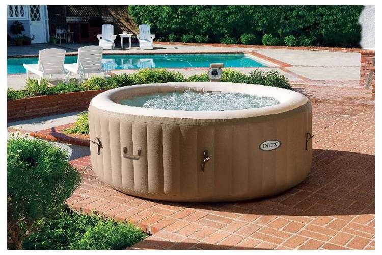 intex pure spa 4 person bubble hot tub with six filter cartridges 28403e 3 x 29001e. Black Bedroom Furniture Sets. Home Design Ideas