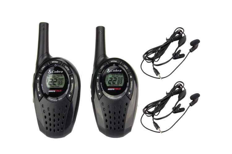 CX210 + 2 x GA-EBM2�Cobra CX210 20 Mile 22 Channel Walkie Talkie 2-Way Radios (2) + Headsets (2)