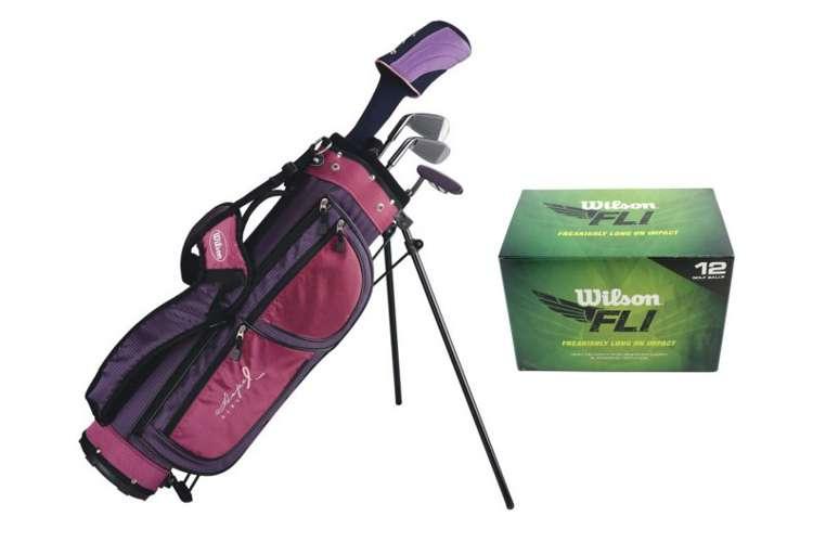 WGGC6806 + WGWR56500�Wilson Junior Golf Set | Girls Hope Golf Club Set w/ Bag + 1 Dozen FLI Balls